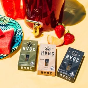 HVGC vape boxes in indica, sativa, and hybrid strains